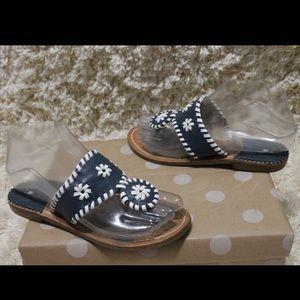 Jack Rogers Palm Beach Blue Leather Sandals